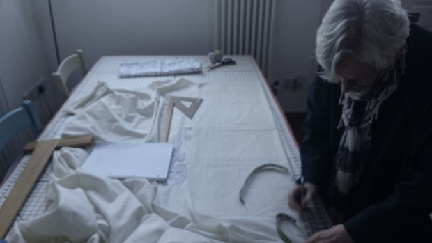 Hannah Watherston making a toile, photo by Amanda Jane Textiles