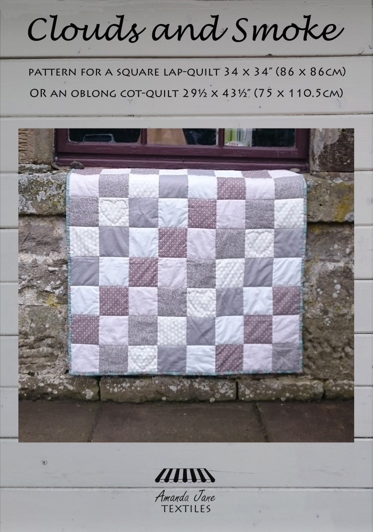 Clouds and Smoke, cot quilt, lap quilt, cover, by Amanda Jane Textiles
