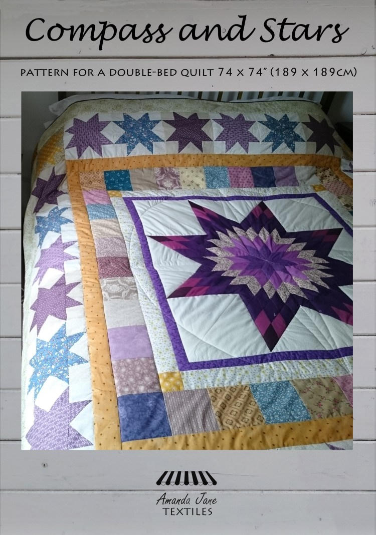 Compass and Stars, quilt pattern, cover, by Amanda Jane Textiles