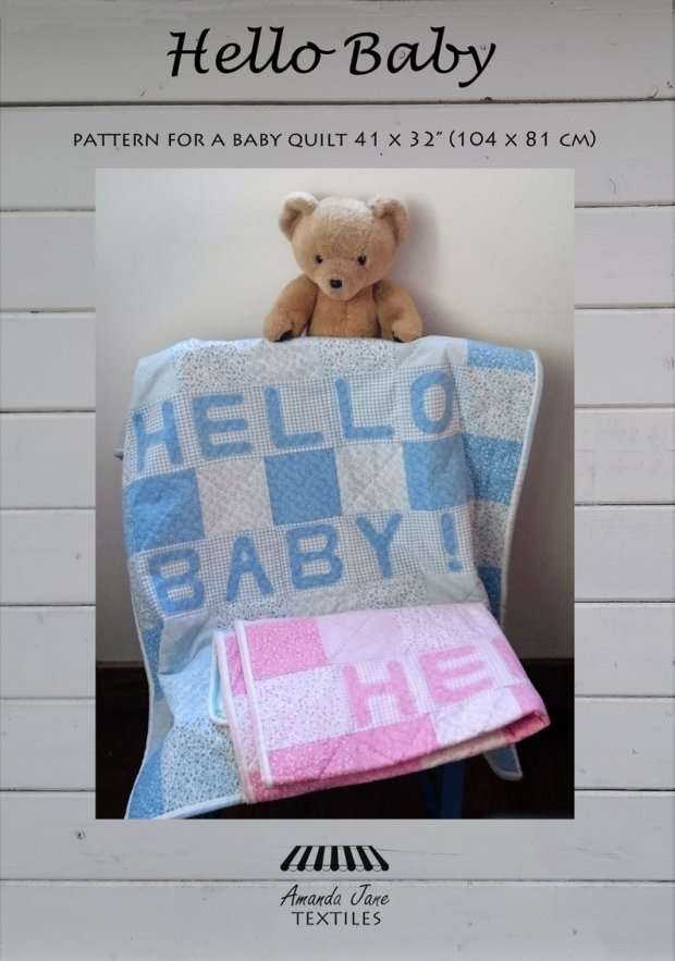Hello Baby cot quilt pattern, cover, by Amanda Jane Textiles