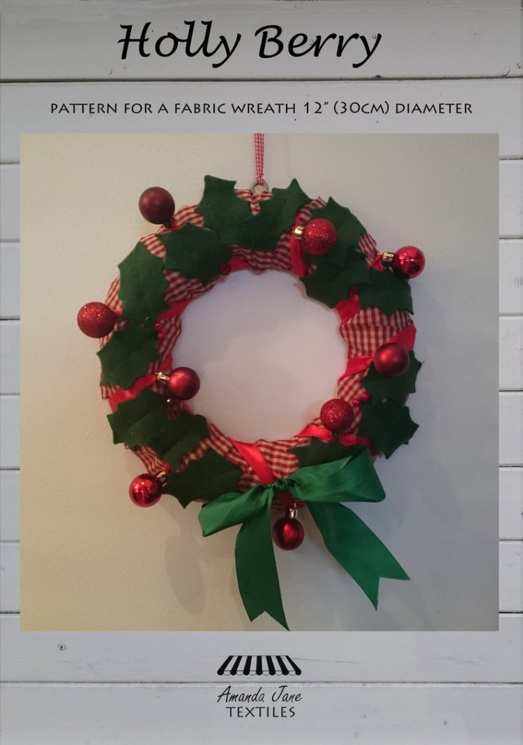 Holly Berry Christmas Wreath, cover, by Amanda Jane Textiles