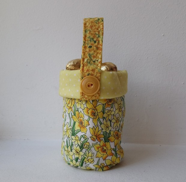 Yellow basket for chocolate eggs by Amanda Jane Textiles.jpg