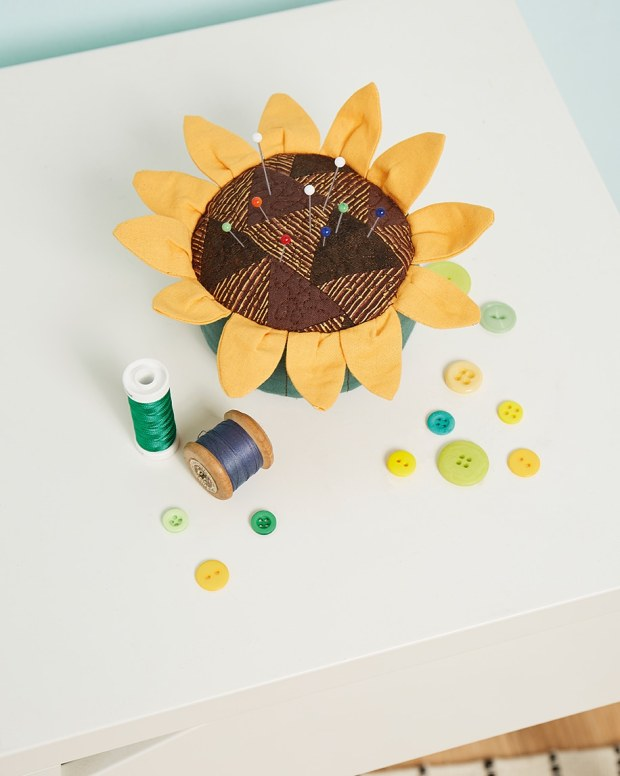 Sunflower pincushion magazine photo