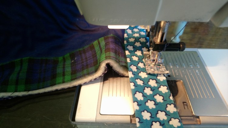 Attaching a binding, stopping at the corner
