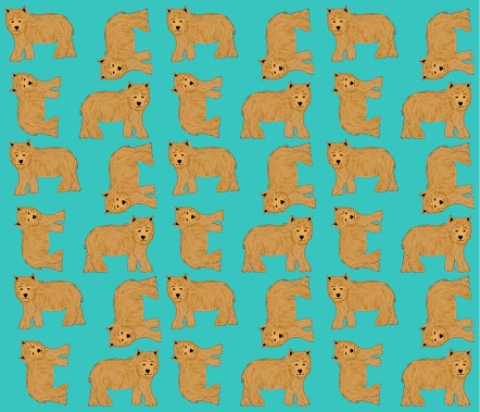 A fabric design of brown bears on a jade background by Amanda Jane Textiles on Spoonflower