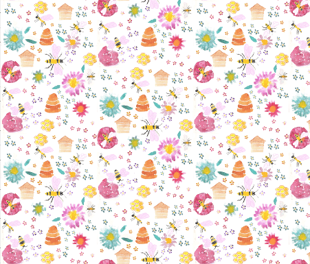 fabric design by Amanda Jane Textiles, featuring bees, bumble-bees, hives and summer flowers
