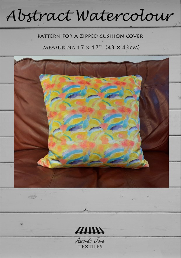 Abstract-Watercolour-cushion-cover-pattern by Amanda Jane Textiles