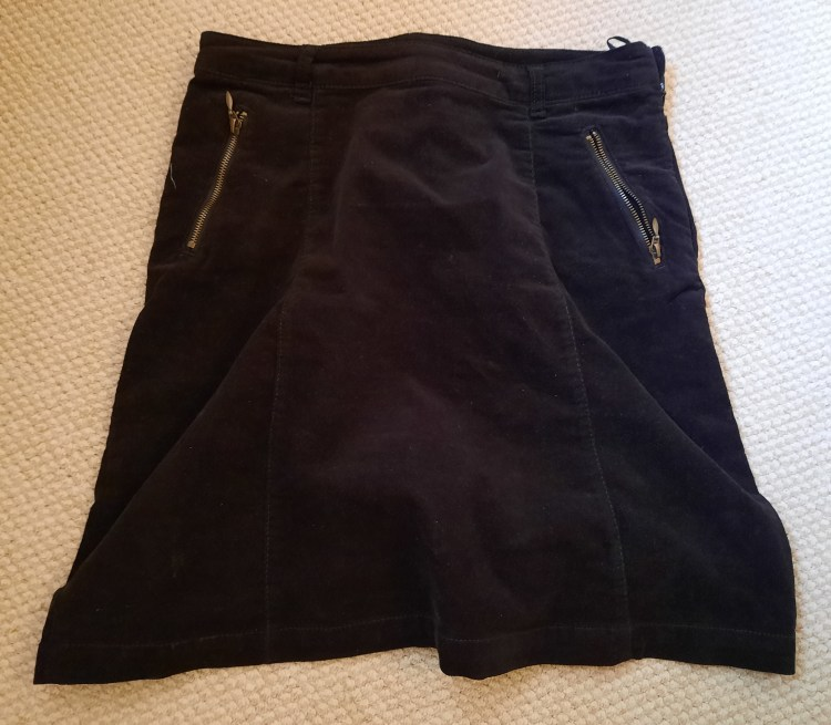 brown corduroy skirt ready for recycling