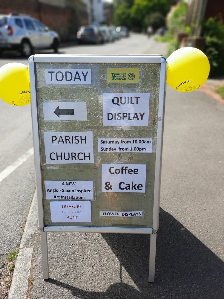 Notice board for a quilt show, advertising quilt display, coffee and cake