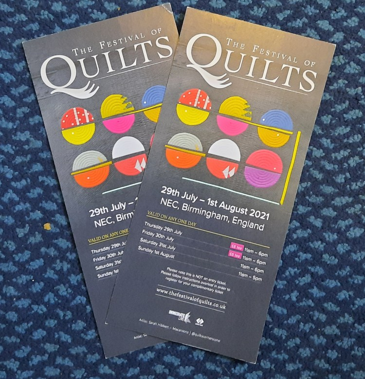 Tokens for two free tickets to the Festival of Quilts 2021