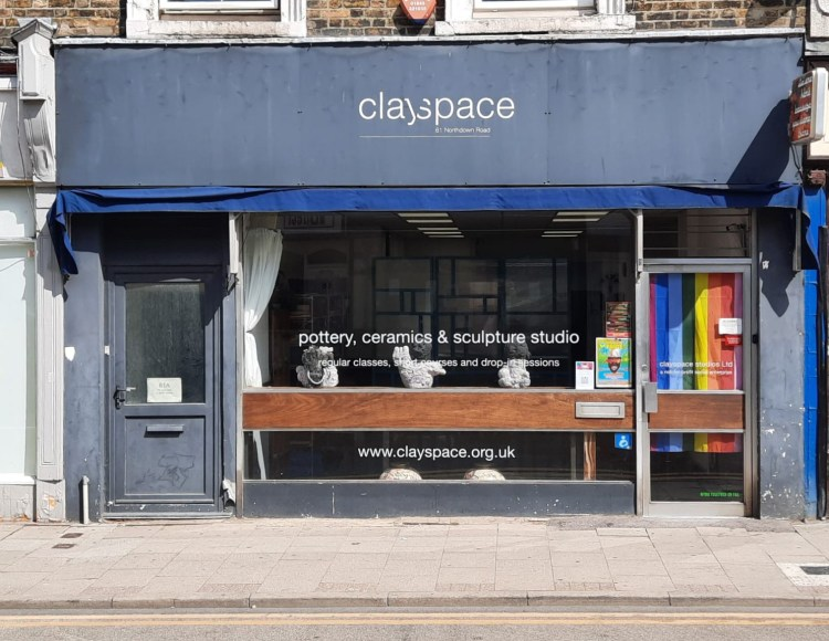The front of Clayspace, a pottery studio, in Margate, Kent