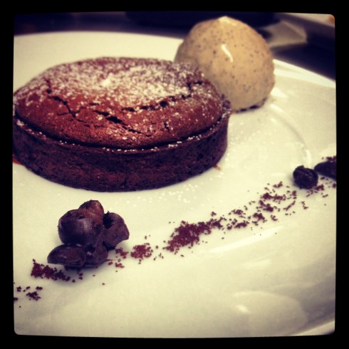 Warm Chocolate Tart with espresso ice cream and chocolate covered espresso beans