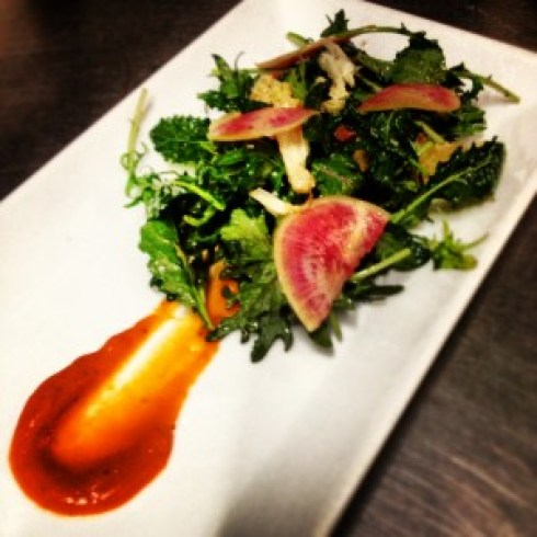 Baby Kale Salad with watermelon radish, carrot and roasted cauliflower