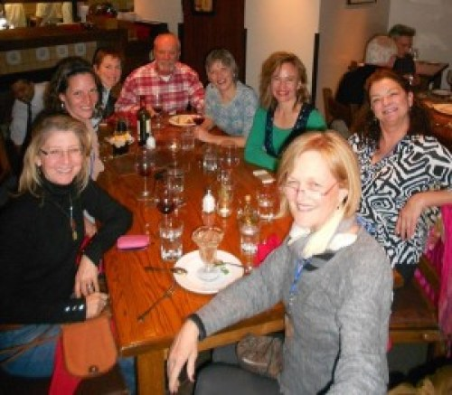 The Encausticamp crew (with Michelle Belto at the next table). Photo from Sue Stover.