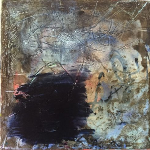 Shame 8x8 encaustic and oil
