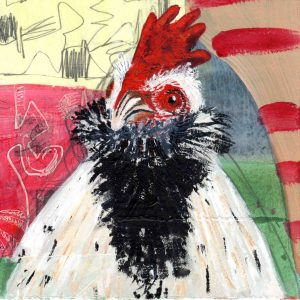 """Bearded Rooster"" mixed media on paper"
