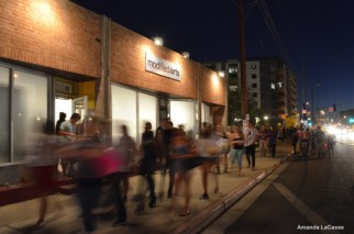 Crowds enter and exit Modified Arts, one of the many galleries on Roosevelt Row.