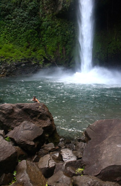 La Fortuna Waterfall - not liking the thought of climbing back up 500 steps - can no longer move - jelly legs