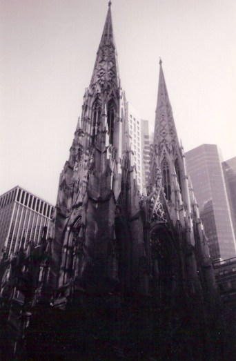 A surreal sight - old and new - St Patricks Cathedral