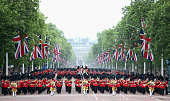 LONDON, ENGLAND - JUNE 13: Troops advance down the Mall during the Trooping the Colour on June 13, 2015 in London, England. The ceremony is Queen Elizabeth II's annual birthday parade and dates back to the time of Charles II in the 17th Century, when the Colours of a regiment were used as a rallying point in battle. (Photo by Chris Jackson/Getty Images)