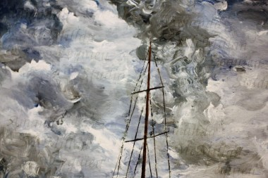 """Close-up - """"Safe harbor"""": Original acrylic on stretched canvas, 36x24 inches; $300"""