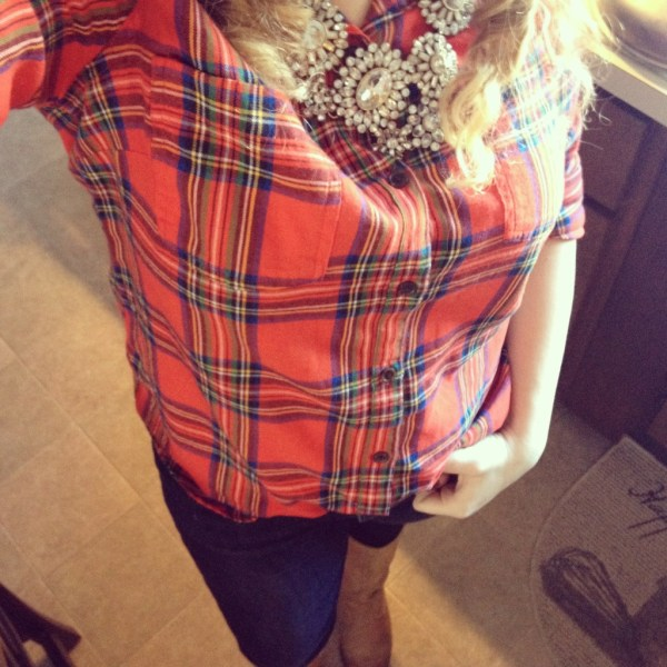 Instagram Outfit Old Navy Flannel and Boots