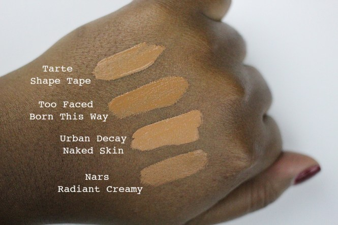 My favourite concealers, swatched for reference. I wear Too Faced Born This Way in Dark, Urban Decay Naked Skin in Dark Golden, and Nars Radiant Creamy in Amande.