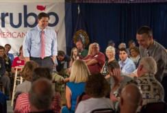 AMANDA SABGA/ STAFF PHOTO Florida Senator Marco Rubio answers a question from Salem resident Tom Linehan after speaking at the Salem-Derry Elks Club in Salem, NH on June 25, 2015.