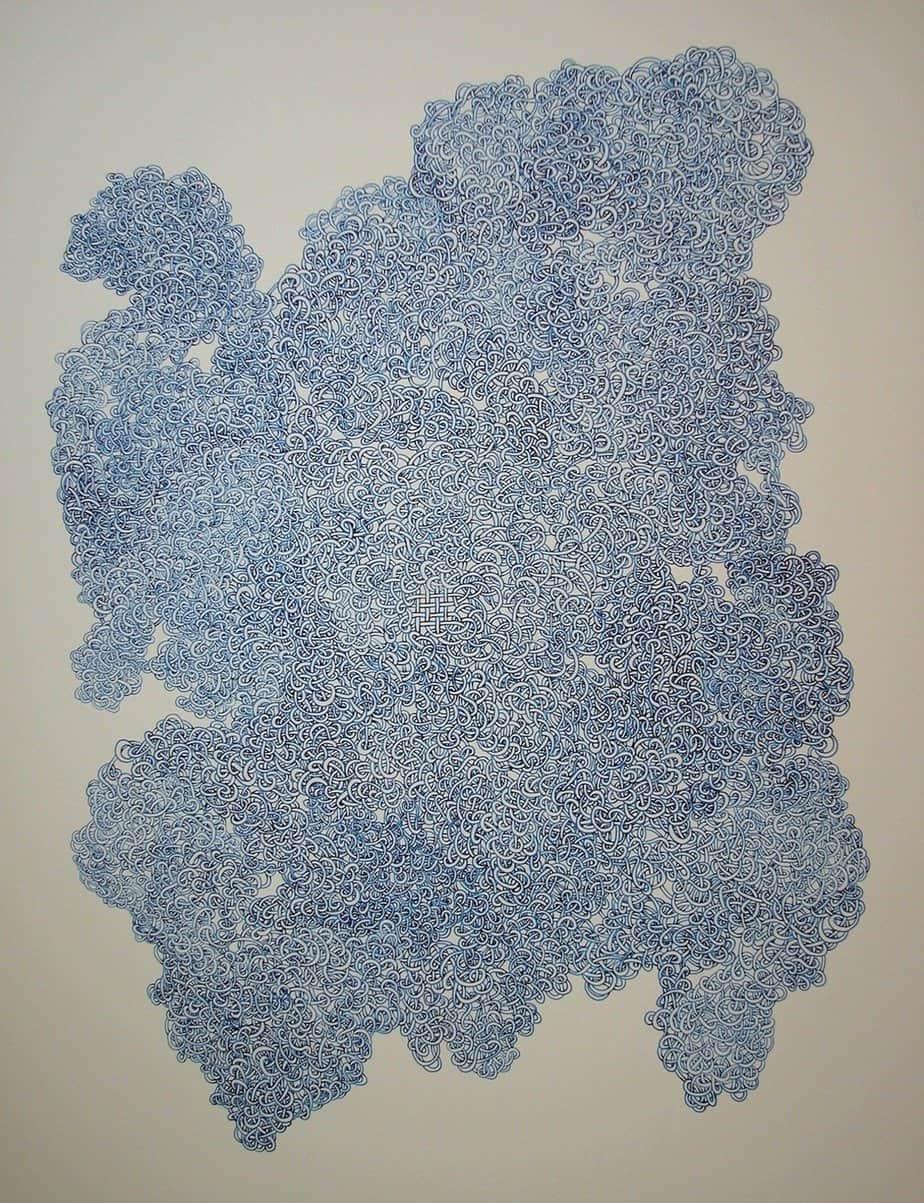 Large 'vine' drawing, blue ink.