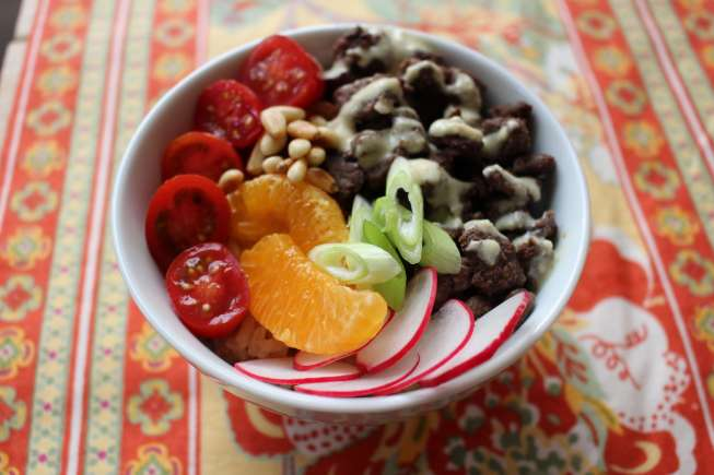 Rice bowl, easy rice bow, rice bowl dinner, easy dinner idea, amanda's late dinner, easy dinner idea amandas plate