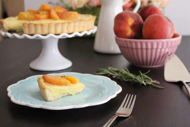 Peach desserts, peach tart, delicious peach tart, peaches and rosemary