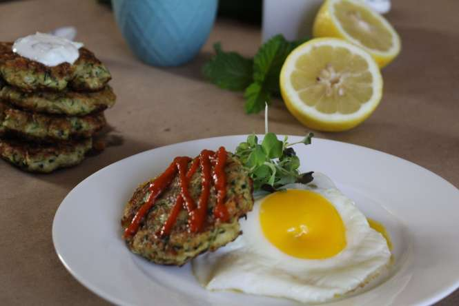 zucchini cake with fried egg