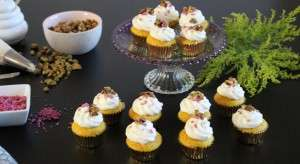 Turmeric Cakes, honey buttercream, pistachios