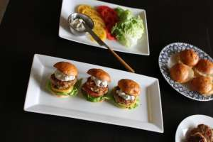 burgers with blue cheese sauce
