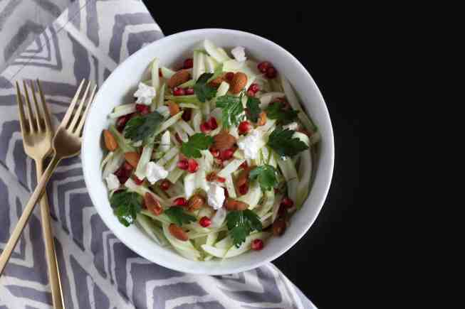 fennel apple pomegrante salad, salad with fennel, pomegrante salad