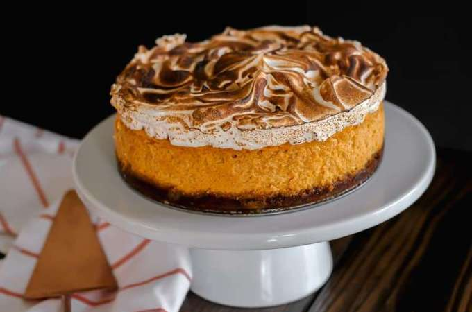 Pumpkin Cheesecake with Marshmallow Meringue Topping