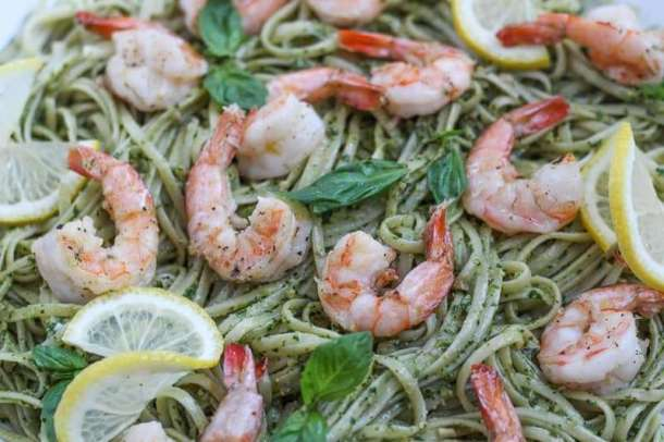 kale pesto shrimp pasta