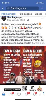 Arte para Facebook do evento Arraiá do Sambagunça