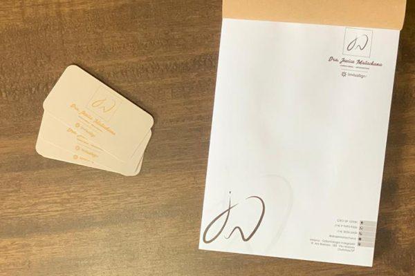 Receituário e cartão de visita com hotstamp - Dra. Jéssica Matachana