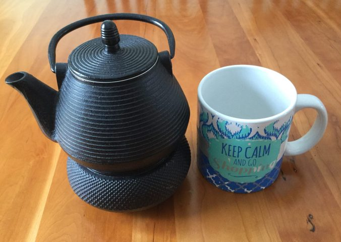 My tea kettle and extra large tea mug waiting to be filled.