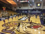 The Hofstra and Elon women's basketball teams warm up before playing a CAA tournement game. March 9, 2017. James Madison University, Harrisonburg, Virginia.