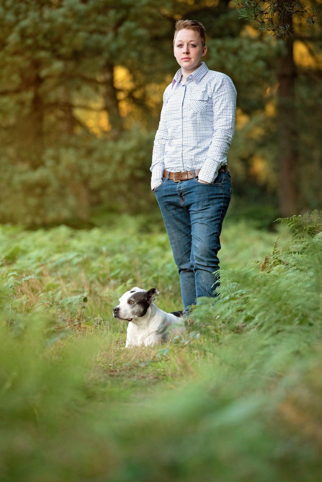 portrait sheep dog owner