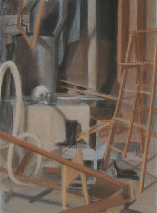 """""""G-ma's Basement,"""" charcoal, conte on paper, 18""""x 24"""", 2010"""
