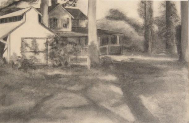 "Williamsburg, VA, charcoal on paper, 18""x 24"", 2010"