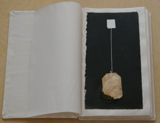 """""""Six Hour Sweat for a Moment of Reflection,"""" 46 bound prints, (one tea bag printed until it totally falls apart,) 2013-2014"""