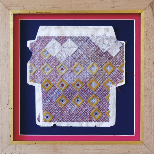 Marsie in the Pink House, 2015, silk and cotton thread on envelope, © Amanda Wagstaff