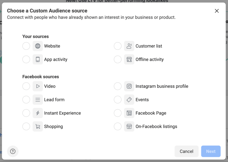 Creating custom audiences in Facebook