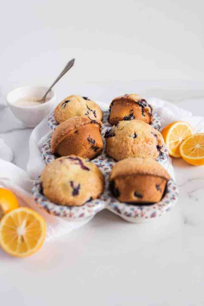 lemon blueberry muffins in a cupcake mold