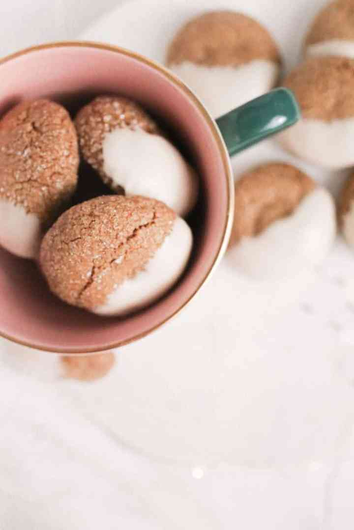 close-up molasses cookies in a cup