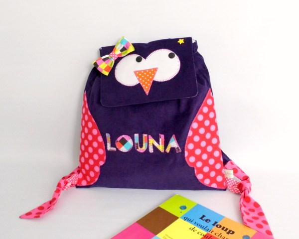 sac-a-dos-hibou-maternelle-prenom-louna-sac-creche-fille-amanite-rose-kindergarten-backpack-personalized-name-owl